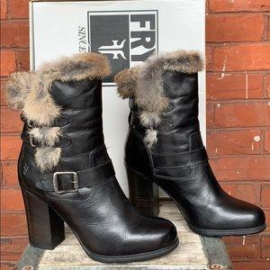 FRYE NEW! Penny Luxe Moto Short Rabbit Fur Boots